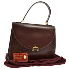 Authentic Cartier Logos Hand Tote Bag Bordeaux Gold Leather Italy Vintage V03350