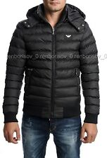 Emporio Armani Men's Hooded Jacket T-Shirt Black Color size M FITS LIKE S BNWT
