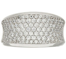 Diamonique Sterling Silver Pave' Saddle Ring Size 7 - QVC