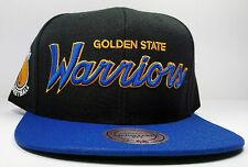 Golden State Warriors Mitchell & Ness Black Vintage Script Snapback Hat NBA