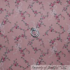 BonEful Fabric FQ Cotton Quilt VTG Antique Rose Ribbon Flower S Pink Shabby Chic