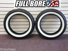 FULLBORE HARLEY WIDE WHITEWALL MOTORCYCLE TIRES SET OF 2 130/90-16 F & R MT90-16