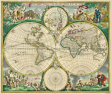 NUOVO DE WIT Antico Old World Map NOVA ORBIS COLORE FOTO piano Colore Decorativo