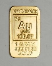 GOLD 1GRAM 24K PURE GOLD BULLION BENCHMARK ELEMENTAL BAR 999 FINE GOLD H2b