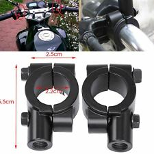 "7-8"" Motorcycle Handlebar Mirror Adaptor Clamp On Mount Brackets 10mm Aluminium"