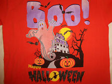 Halloween Holiday Boo! Happy Halloween Ghost Pumpkin Orange Graphic T Shirt - L