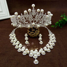 Wedding Crystal Tiara Crown+Necklace+Earrings Set Handmade Bridal Accessory New
