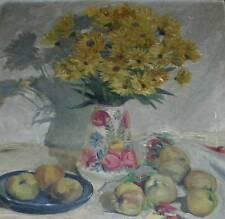 Blumenstrauß in Vase & Obst Stillleben Gemälde Reinhard Huebner *1881 Berlin