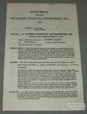 1938 Quebec Baseball Contract Signed by Robert Daoust