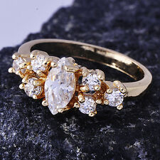 Shinning Clear Cubic Zirconia Yellow Gold Filled Womens Ring Size 6.5#B1521