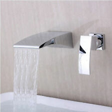 Chrome Waterfall Bathroom Wall Mount Single Lever Basin Mixer Tap Sink Faucet