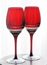 2 Waterford Ruby Red Cased Cut to Clear John Rocha Voya Goblets Signed