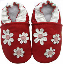carozoo 3 flowers red 6-12m C1 new soft sole leather baby shoes