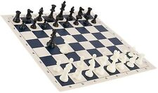 "New Regulation Black & White Chess Pieces & 20"" Blue Vinyl Board - Single Weight"