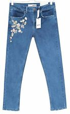 NEW Topshop SKINNY Moto EMBROIDERED Vintage Blue Mid Rise CROP Jeans Size 12 W30