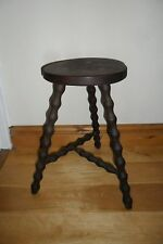 Antique French Wooden Round Stool with 3 Barley Twist Legs