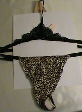 NWT Victoria VS animal V-string panties lace trim sz-M low rise black tan beige