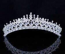 SHINY AUSTRIAN CRYSTAL RHINESTONE HAIR TIARA CROWN PROM SILVER WEDDING T119993