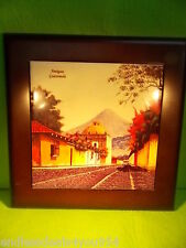 1 ART TILE- ANTIQUA GUATEMALA-CITY VIEW WITH VOLCANO- FRAMED