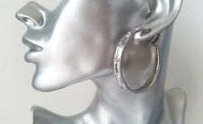 "Beautiful silver tone & acrylic diamante effect bead hoop earrings, 2"" - 5cm NEW"