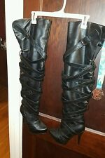 Women's 2b bebw thigh high boots! Black Sexy! Hott! Size 7!