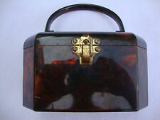 Vintage Brown Lucite Bakelite Octagon Shaped Handle Trinket Jewelry Jewelery Box