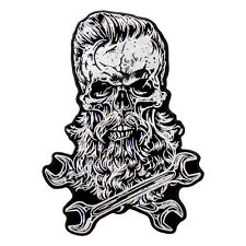 "Hot Leathers, BEARDED SKULL, Premium Quality Iron-On/Saw-On, Rayon PATCH, 4""x5"""
