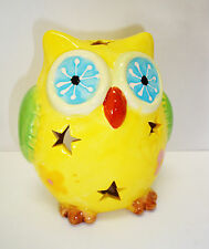 gelbes Windlicht Eule / Keramik / Sterne / Teelichthalter