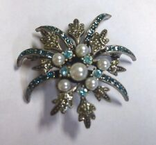 Vintage Antique Silver Turquoise/Aqua Blue Rhinestone Pearl Pin Brooch