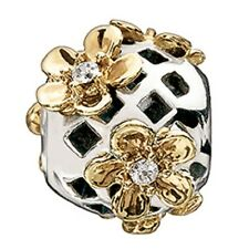 Chamilia Flowering Lattice Sterling & 14K GOLD Bead 2210-0752 NEW Authentic