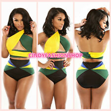 NEW Women Sexy Halter High Waist Bikini Set Bandage Swimwear Monokini SwimSuit