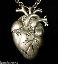 ANATOMICAL HEART NECKLACE GOTHIC PUNK PSYCHOBILLY DEATHROCK  METAL