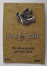 u silver dove You are a special gift from God LIVE By FAITH lapel tack pin