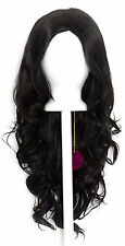 24'' Wavy Layered Cut with no Bangs Natural Black Cosplay Wig NEW