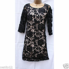 Next Vintage Inspired Black Nude Lace Shift Cocktail Party Dress 6 Reg