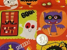 ON SALE Fabric Halloween Costume Party on Orange Cotton by the 1/4 yard BIN