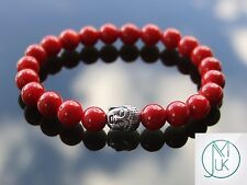 Buddha Red Coral Natural Gemstone Bracelet Beaded 7-8'' Elasticated Healing