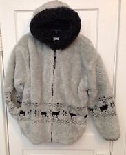 Women's L Woolen Mills Grey/Silver FAUX Fur Sheerling/Fleece Coat w/Deer Print