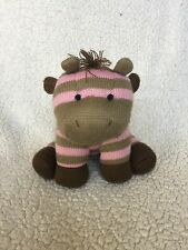"ANIMAL ADVENTURE Knit Sock Monkey Pink Brown Plush Striped Baby ZEBRA 9"" 2012"
