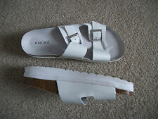 US 8.5 WHITE SANDALS ITALY 39 DOUBLE STRAPS 5075 SANS DOUBLURE by ANDRE