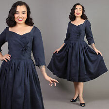 vtg MIDNIGHT BLUE holiday I.MAGNIN hourglass rockabilly pinup party dress 50s S