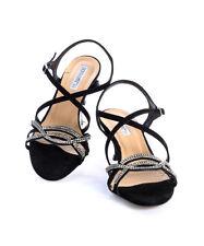 Donna Piu 50463 Black Suede Swarovski Crystals Strappy Sandals 39 / US 9