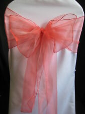 100 CORAL REEF ORGANZA WEDDING BANQUET CHAIR SASHES BOWS