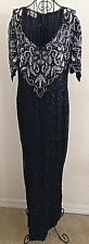Vintage Laurence Kazar Sequin Beaded Evening Gown Dress Silk Faux Pearl Lined M