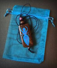 Handpainted Goddess Pendant. Handmade Beaded Triple Moon Necklace. Pagan Witch