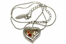 DISNEY HEART LOCKET SILVER NECKLACE FLOATING SNOW WHITE LOVE APPLE CHARM