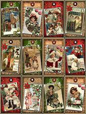 12 CHRISTMAS WINTER VINTAGE CHILDREN HANG / GIFT TAGS FOR SCRAPBOOK PAGES (11)