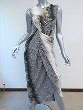 Peter Pilotto Aks Twisted Front Printed Silk Dress White/Gray Size UK 8 $1995