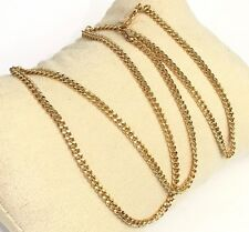 18k Solid Yellow Gold Italian Flat Curb/ Link Chain Necklace, 18Inches. 3.81Gr