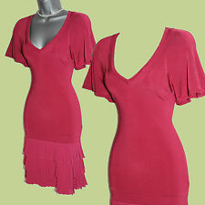Karen Millen Dark Pink Fine Knit V-Neck Pleated Hem Kimono Sleeve Dress 2 UK8/10